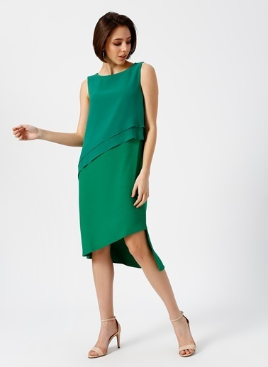 Random Kolsuz Midi Elbise Yeşil